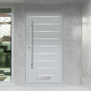 Image: External Spitfire Aluminium S-200 Door - 1641 Stainless Steel Solid - 7 Colour Options