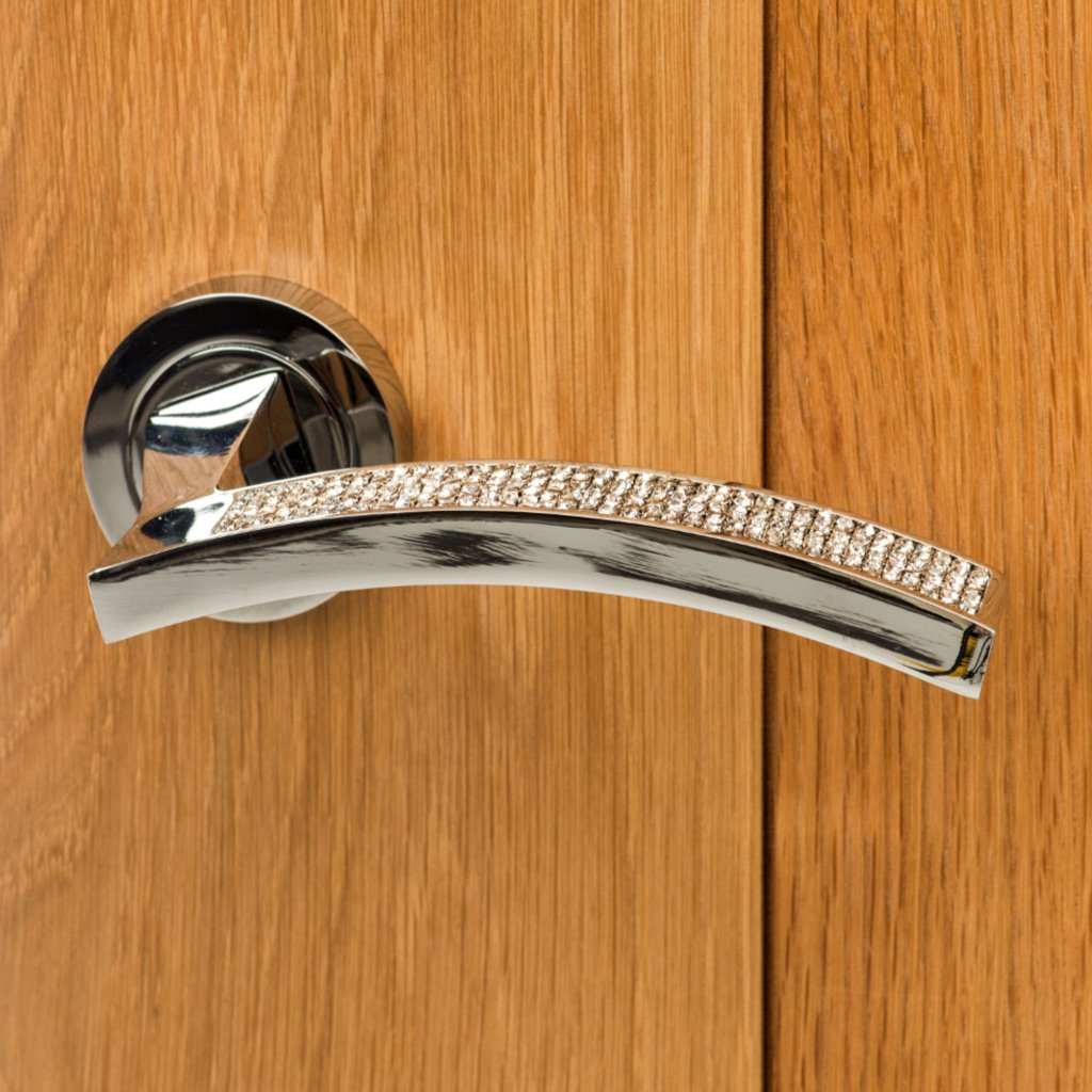 Senza Pari Crystal Lever on Round Rose CR - Polished Chrome