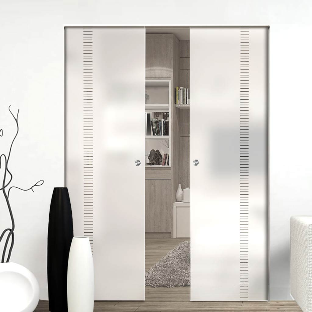 Spott 8mm Obscure Glass - Clear Printed Design - Double Absolute Pocket Door