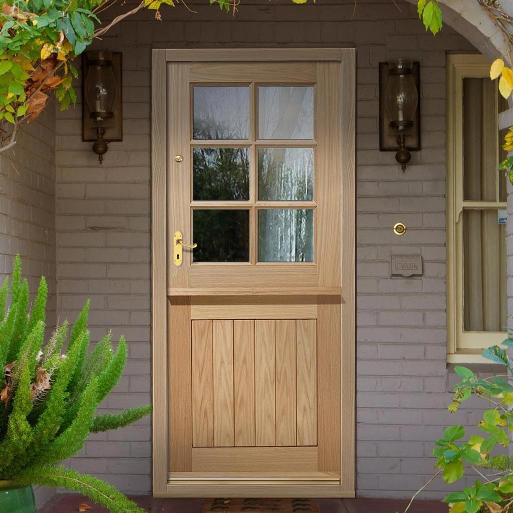 Stable 6L Oak Door - Clear Double Glazing