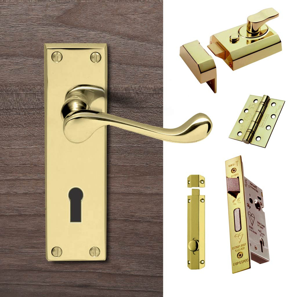 External DL54 Victorian Scroll Lever Stable Door Handle Pack - Brass Finish