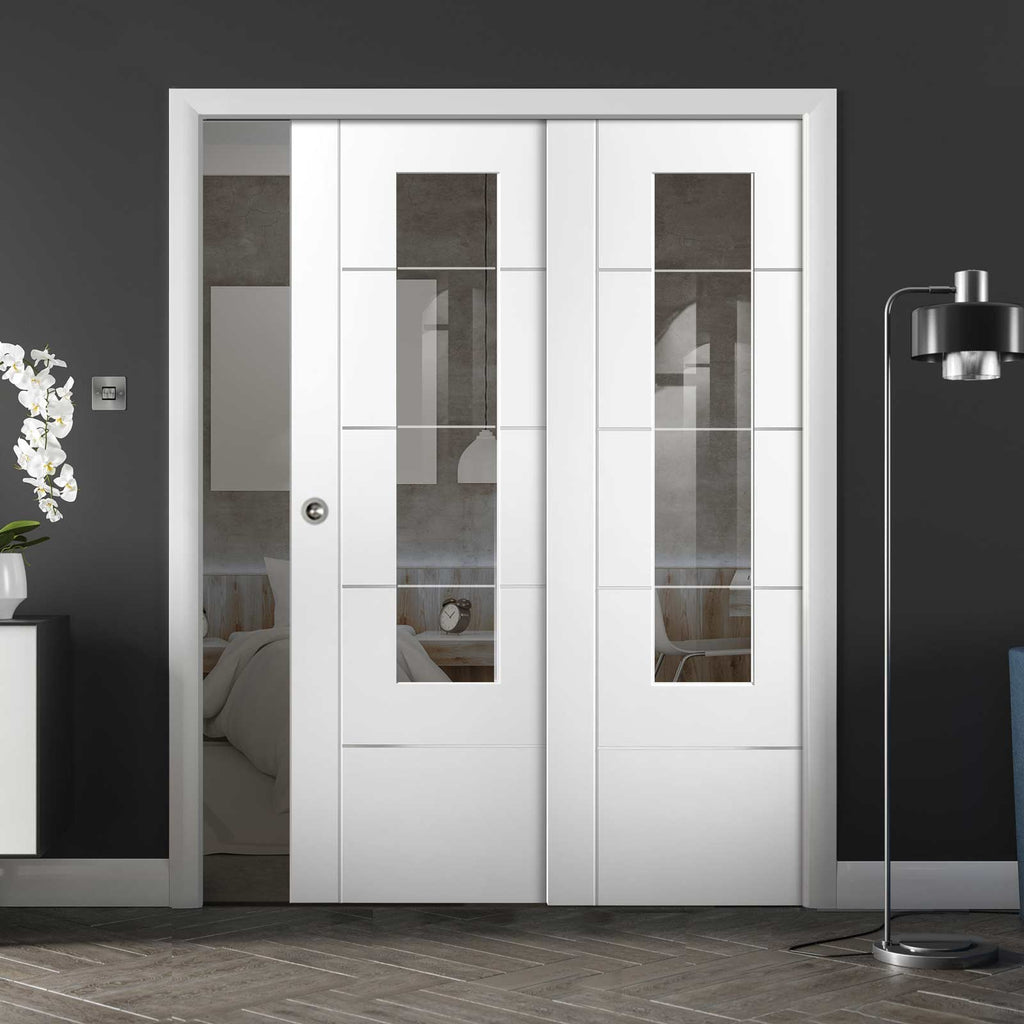 Portici White Staffetta Twin Telescopic Pocket Doors - Clear Etched Glass - Aluminium Inlay - Prefinished