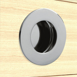 Image: Steelworx 50mm Sliding Door FPH1002 Round Flush Pull - 2 Finishes