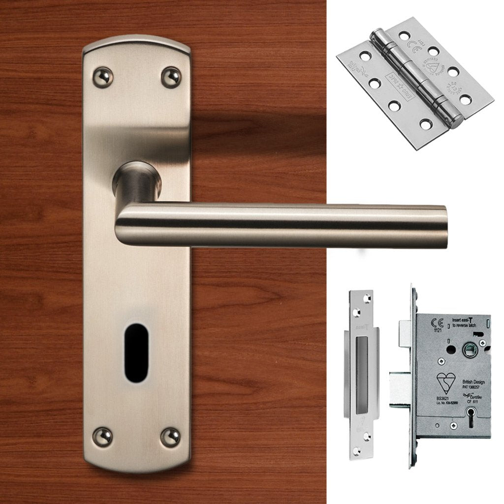 Steelworx CSLP1162P/SSS Mitred Lever Lock Satin Stainless Steel Handle Pack
