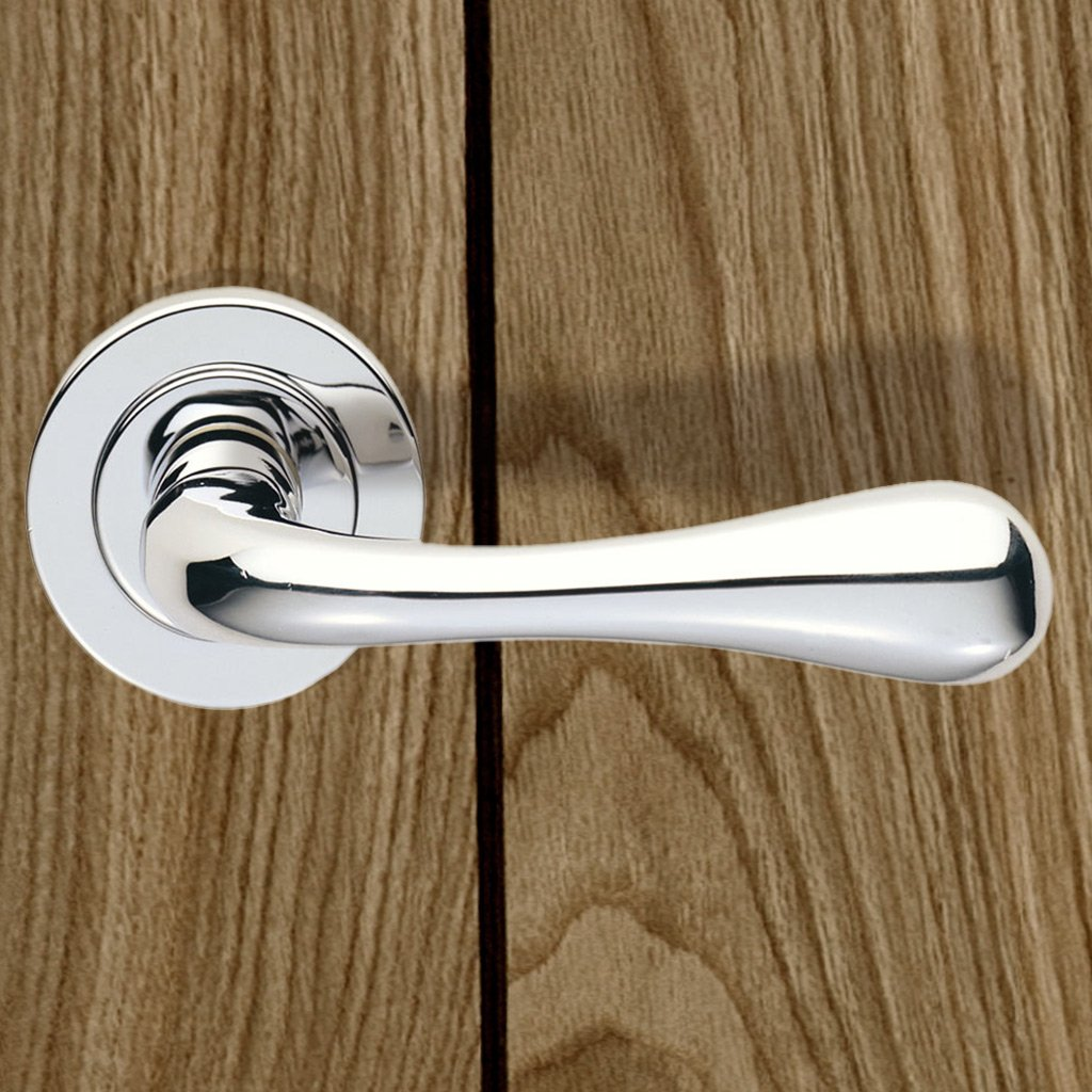European AQ1 Stella Lever Latch Handles on Round Rose - 3 Finishes