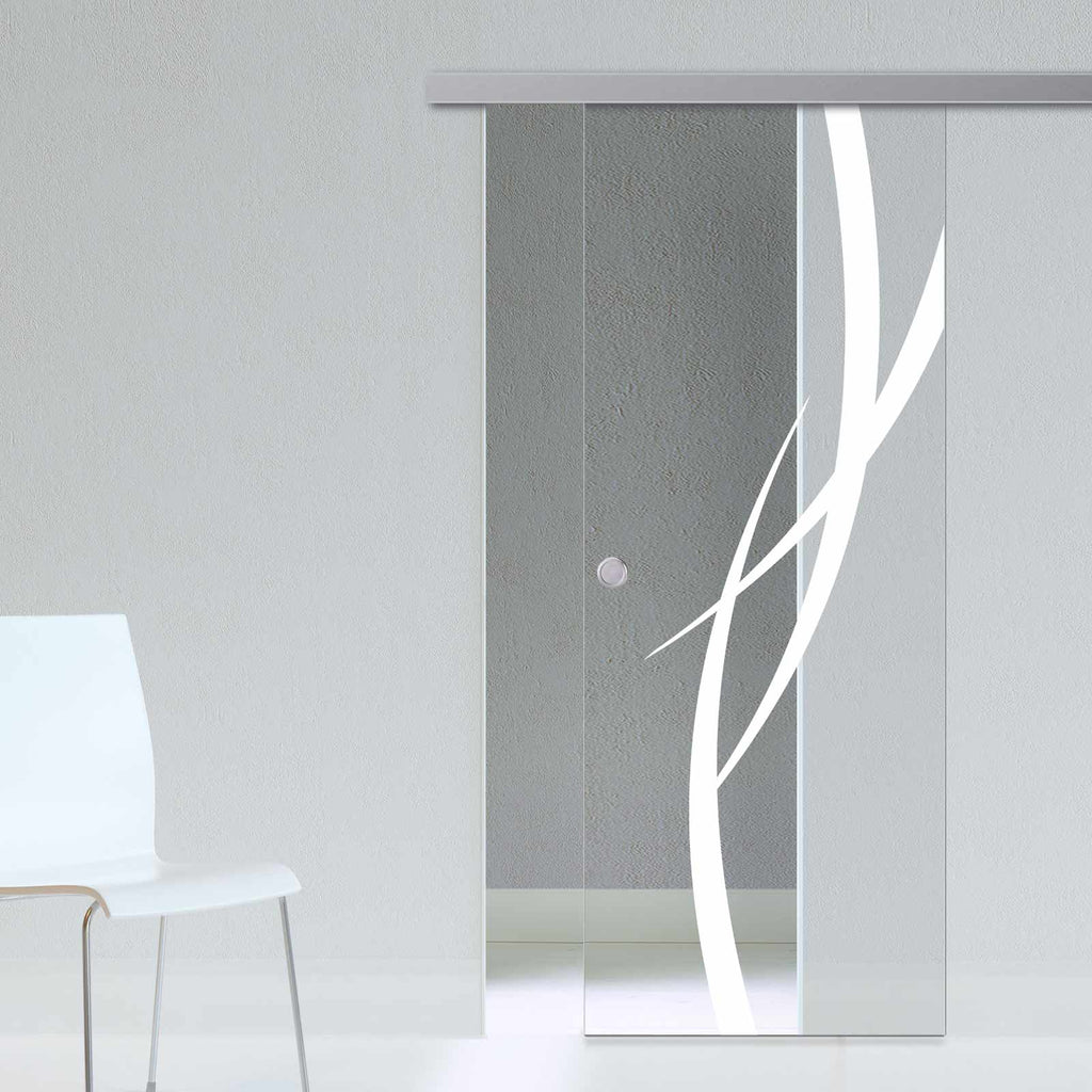 Single Glass Sliding Door - Stenton 8mm Clear Glass - Obscure Printed Design - Planeo 60 Pro Kit