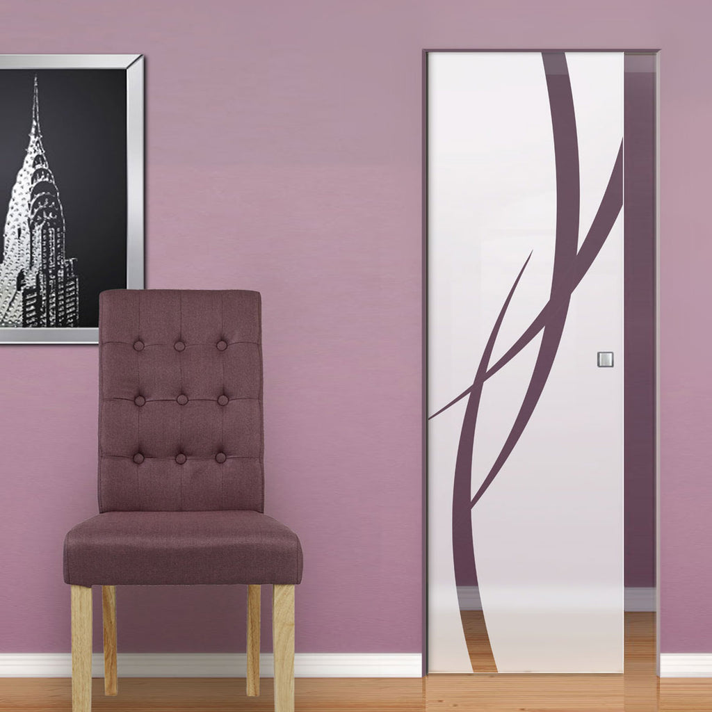 Stenton 8mm Obscure Glass - Clear Printed Design - Single Absolute Pocket Door