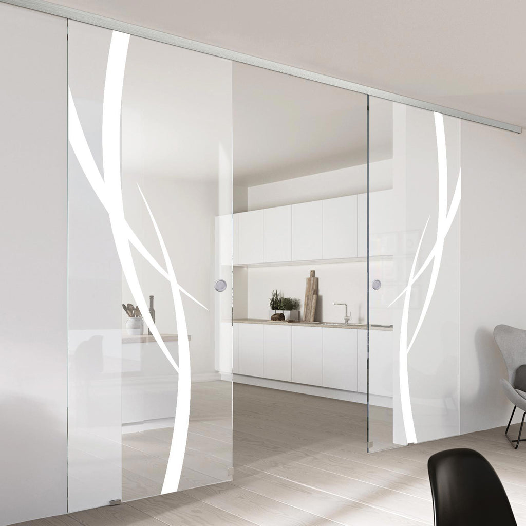 Double Glass Sliding Door - Stenton 8mm Clear Glass - Obscure Printed Design - Planeo 60 Pro Kit