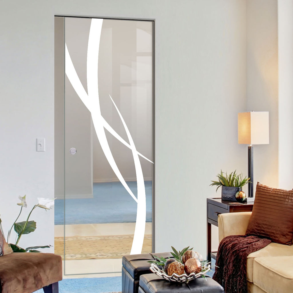 Stenton 8mm Clear Glass - Obscure Printed Design - Single Absolute Pocket Door