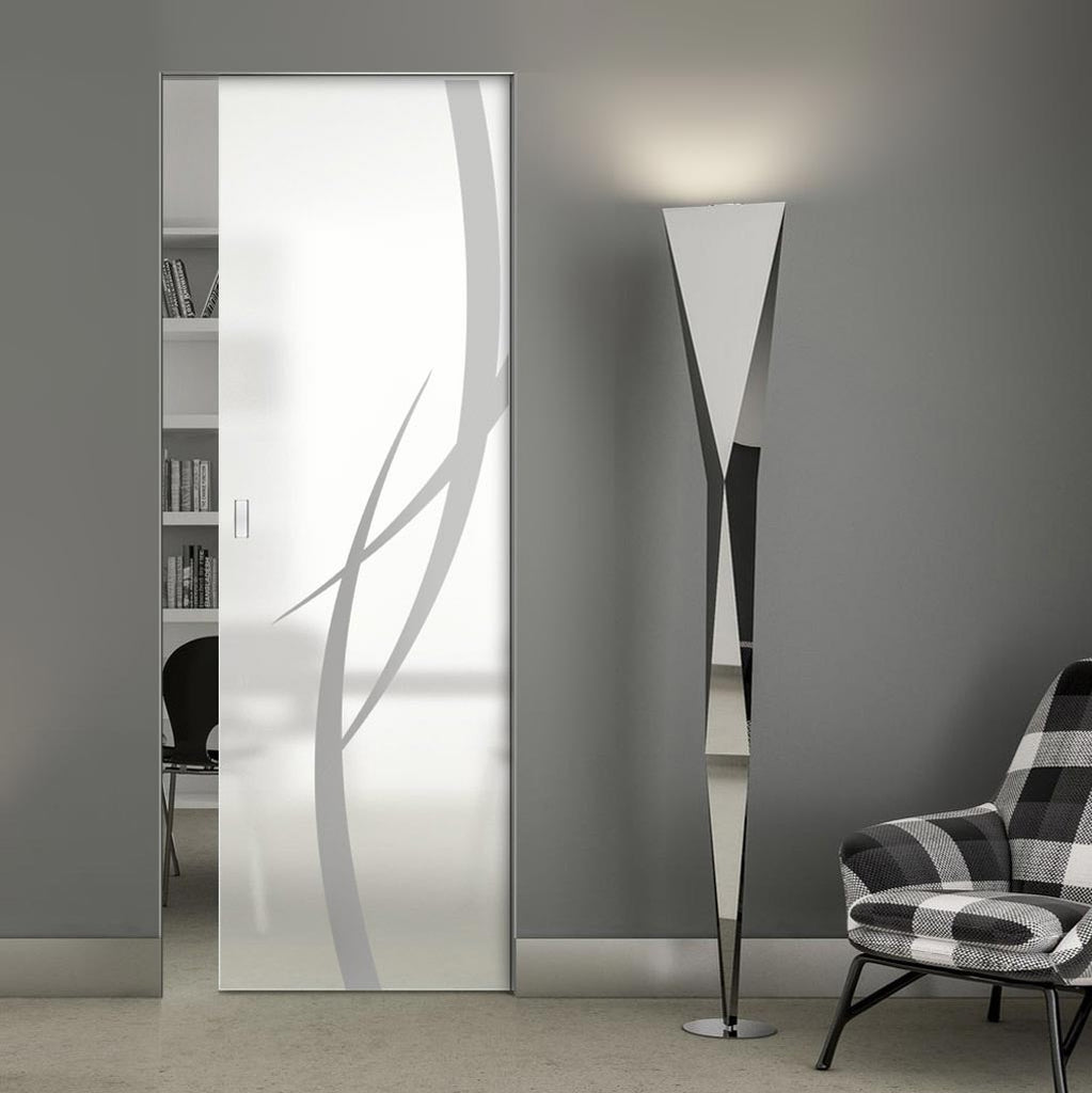 Stenton 8mm Obscure Glass - Obscure Printed Design - Single Absolute Pocket Door