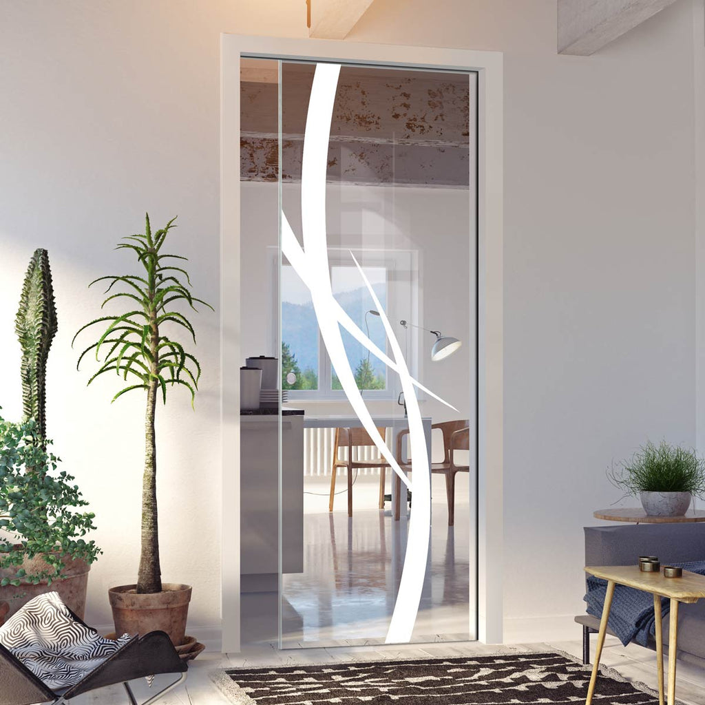Stenton 8mm Clear Glass - Obscure Printed Design - Single Evokit Glass Pocket Door