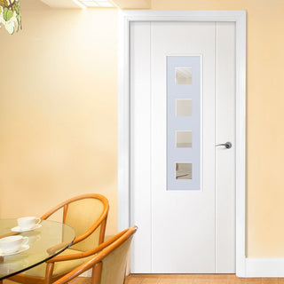 Image: White PVC contemporary stirling door with lightly grained faces sandblast obscure toughened glass with clear squares