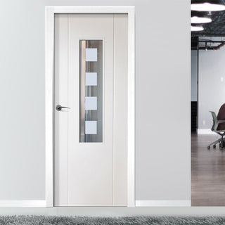 Image: White PVC contemporary stirling door with lightly grained faces clear toughened glass with sandblast squares