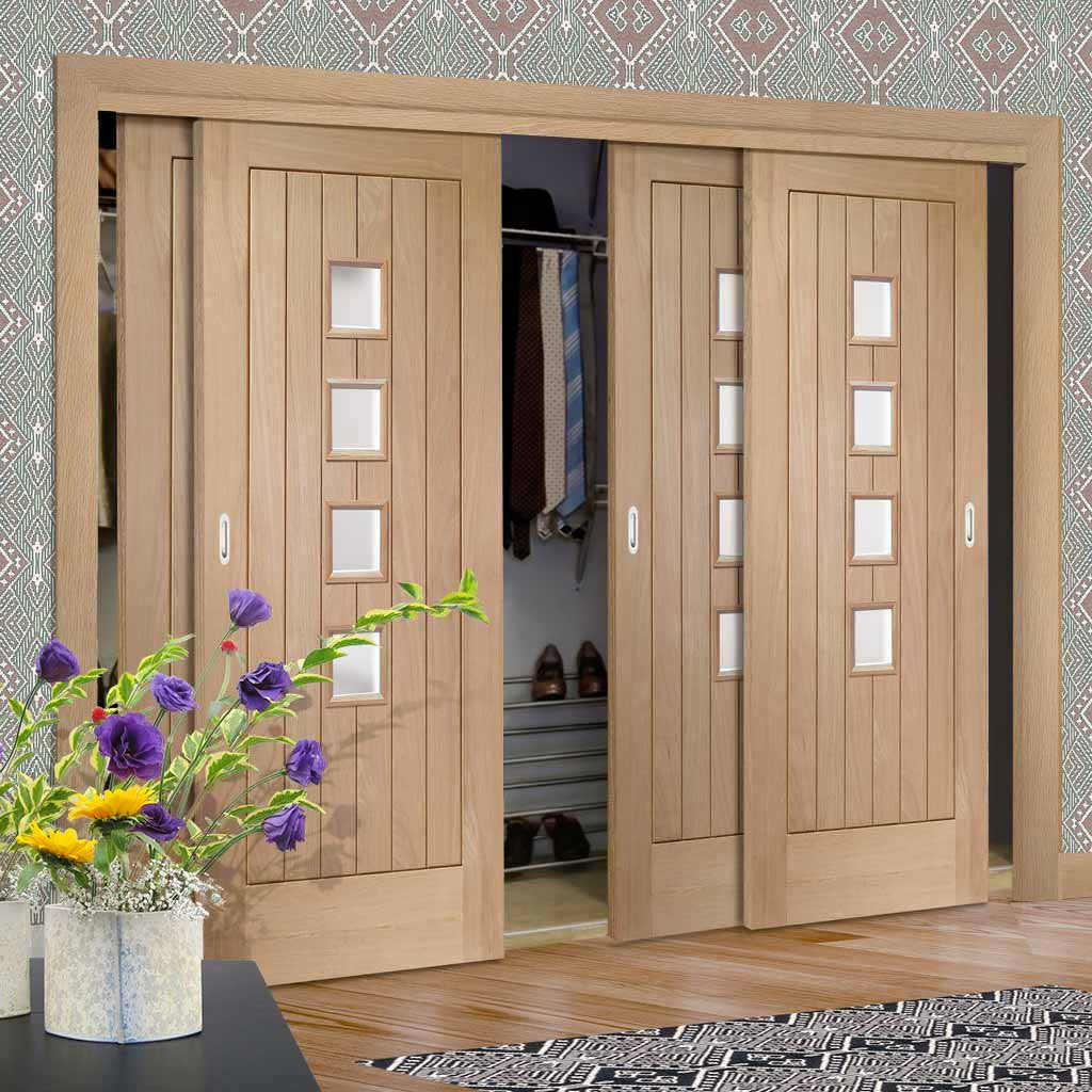 Thruslide Contemporary Suffolk Oak 4 Door Wardrobe and Frame Kit - Obscure Glass
