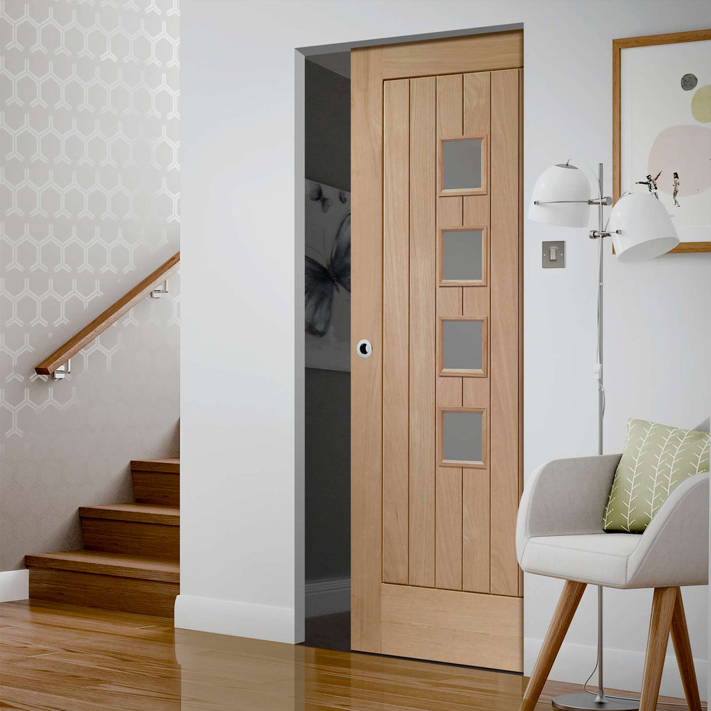 Contemporary Suffolk Oak 4 Pane Absolute Evokit Pocket Door - Frosted Glass