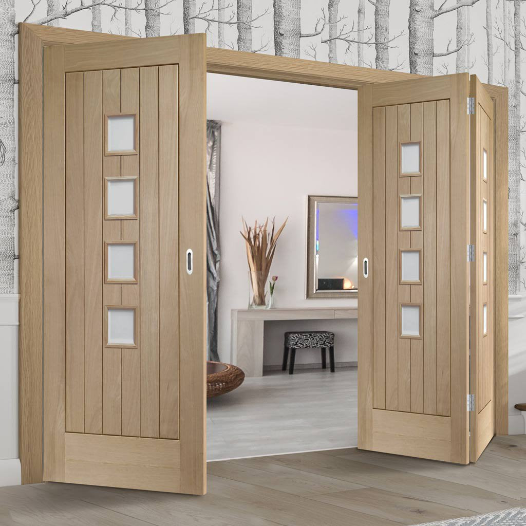 Three Folding Doors & Frame Kit - Contemporary Suffolk Oak 4 Pane 2+1 - Obscure Glass - Unfinished