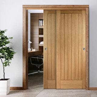 Image: Two Sliding Doors and Frame Kit - Suffolk Essential Oak Door - Unfinished