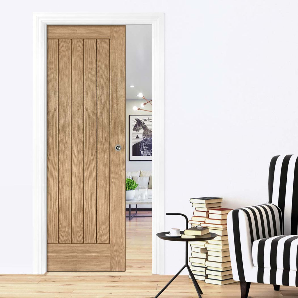 Suffolk Essential Oak Single Evokit Pocket Door - Unfinished