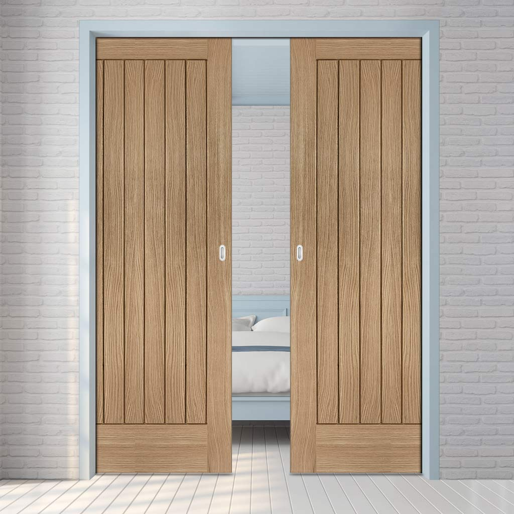 Suffolk Essential Oak Double Evokit Pocket Doors - Unfinished
