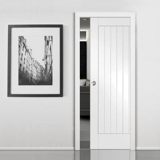 Image: Suffolk Flush Single Evokit Pocket Door - Primed