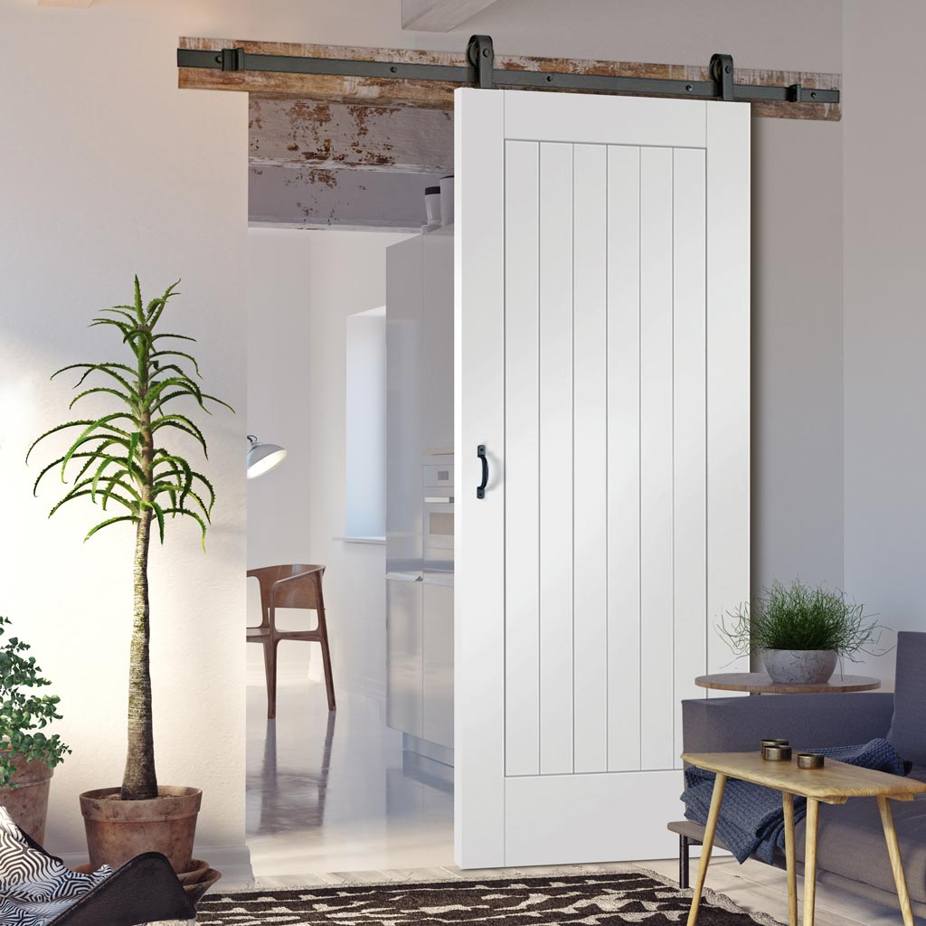 Top Mounted Sliding Track & Door - Suffolk Flush Door - White Primed