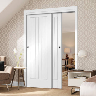 Image: Two Sliding Doors and Frame Kit - Suffolk Flush Door - White Primed