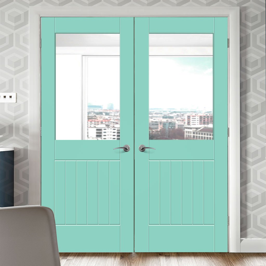 Prefinished Suffolk Door Pair - Clear Glass - Choose Your Colour