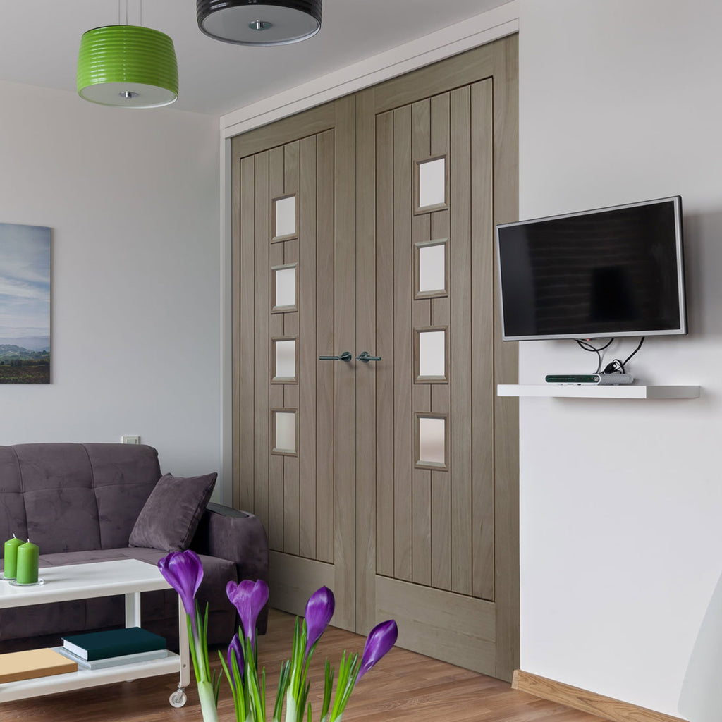 Prefinished Contemporary Suffolk Oak Door Pair - Obscure Glass - Choose Your Colour