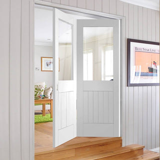 Image: Two Folding Doors & Frame Kit - Suffolk 2+0 - Clear Glass - White Primed
