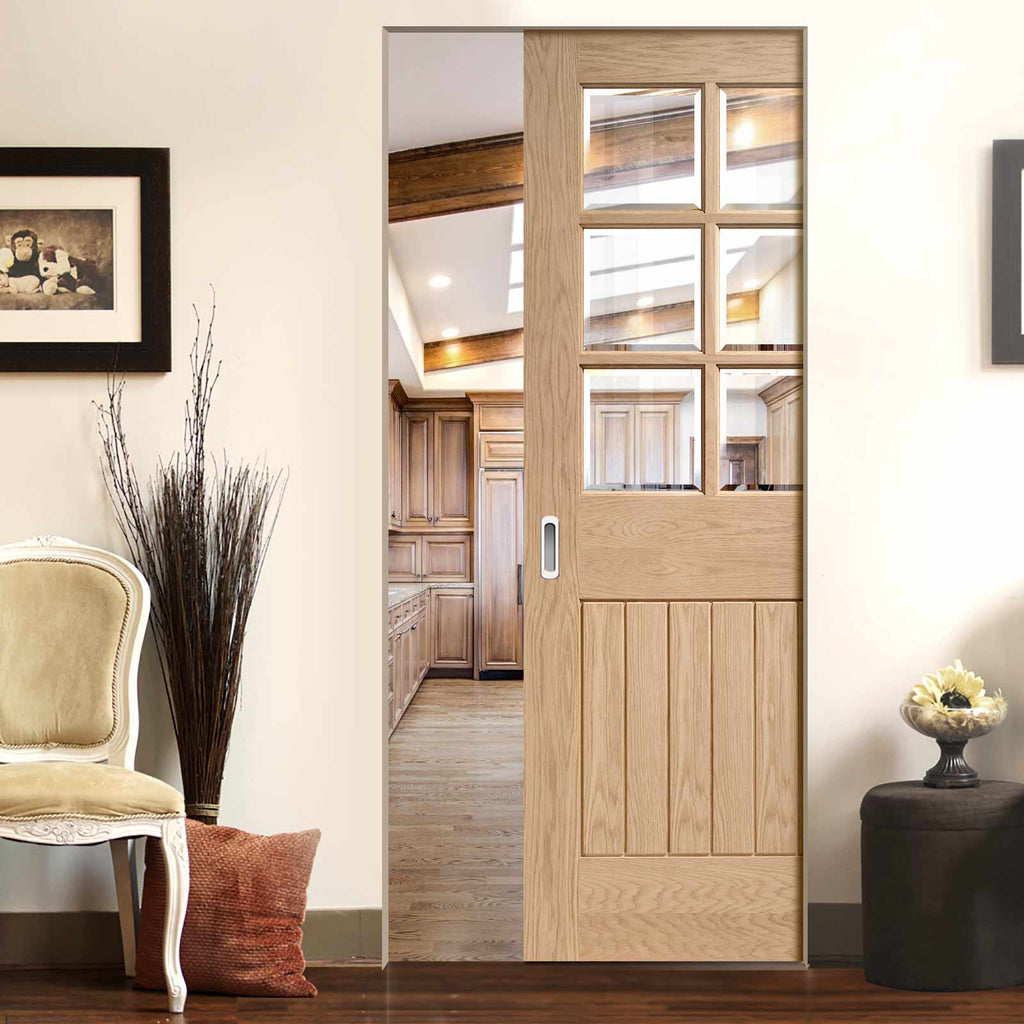 Suffolk Oak 6 Pane Absolute Evokit Pocket Door - Bevelled Clear Glass