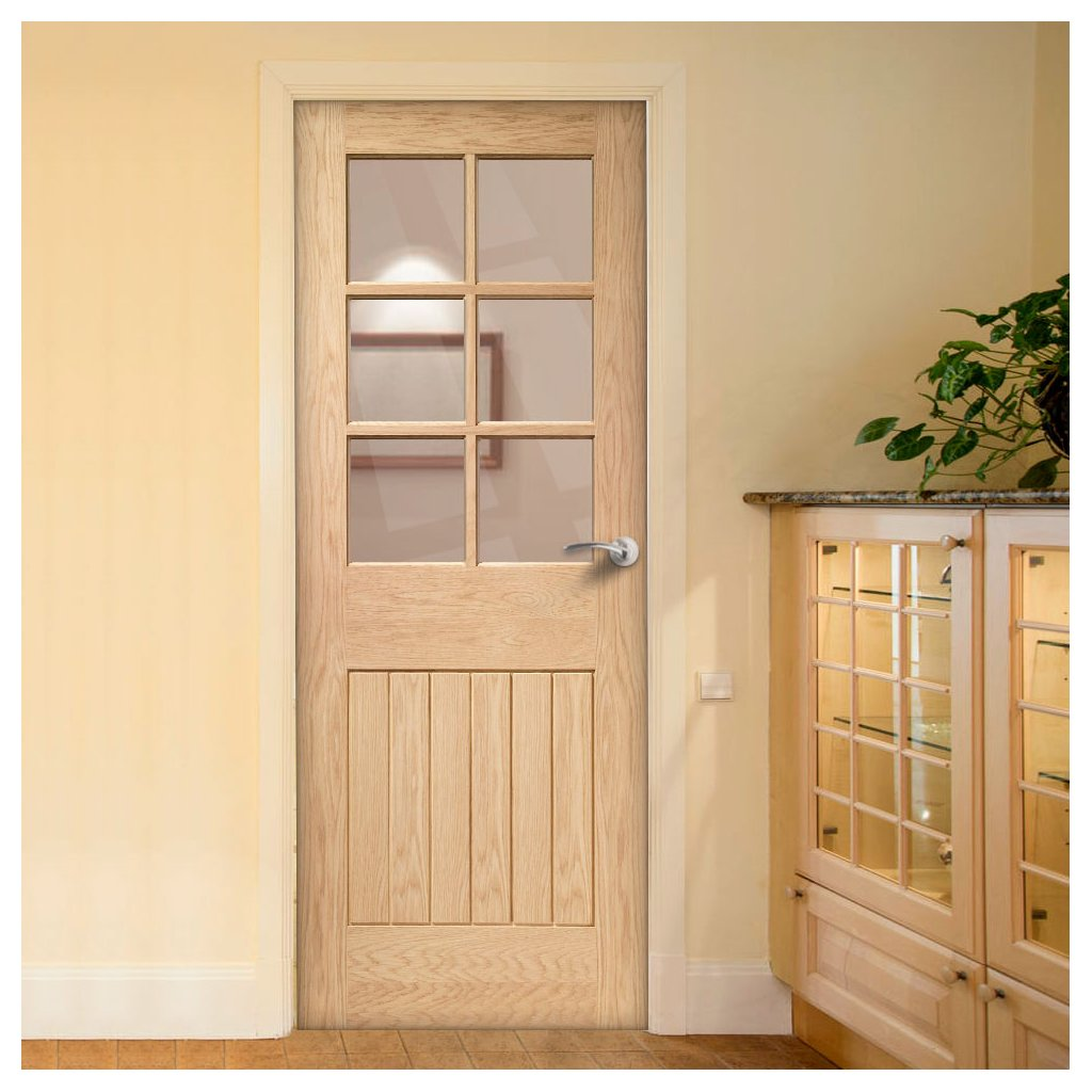 Bespoke Suffolk Oak 6 Pane Fire Door - Clear Glass - 1/2 Hour Fire Rated