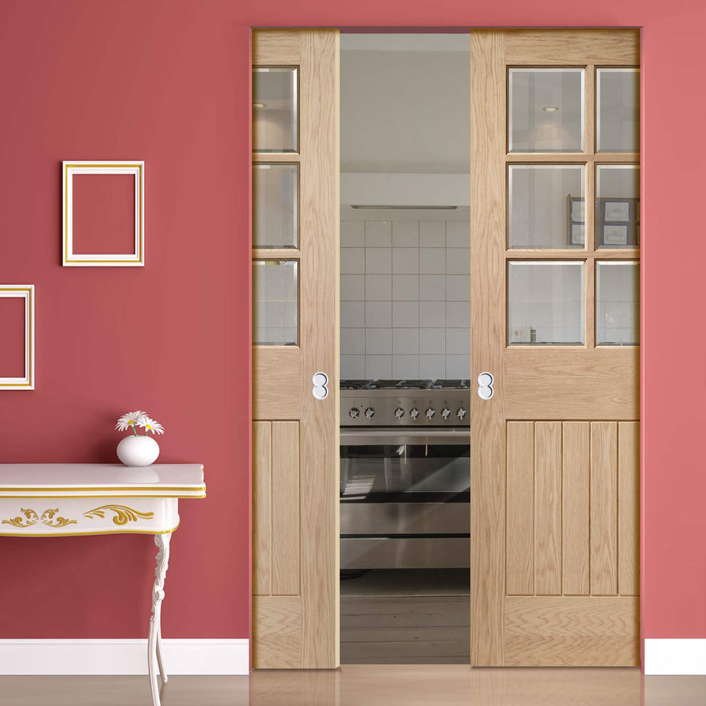 Suffolk Oak 6 Pane Absolute Evokit Double Pocket Door - Bevelled Clear Glass