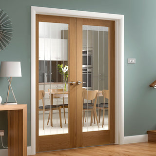 Image: Suffolk Oak Door Pair - Etched Lined Clear Glass