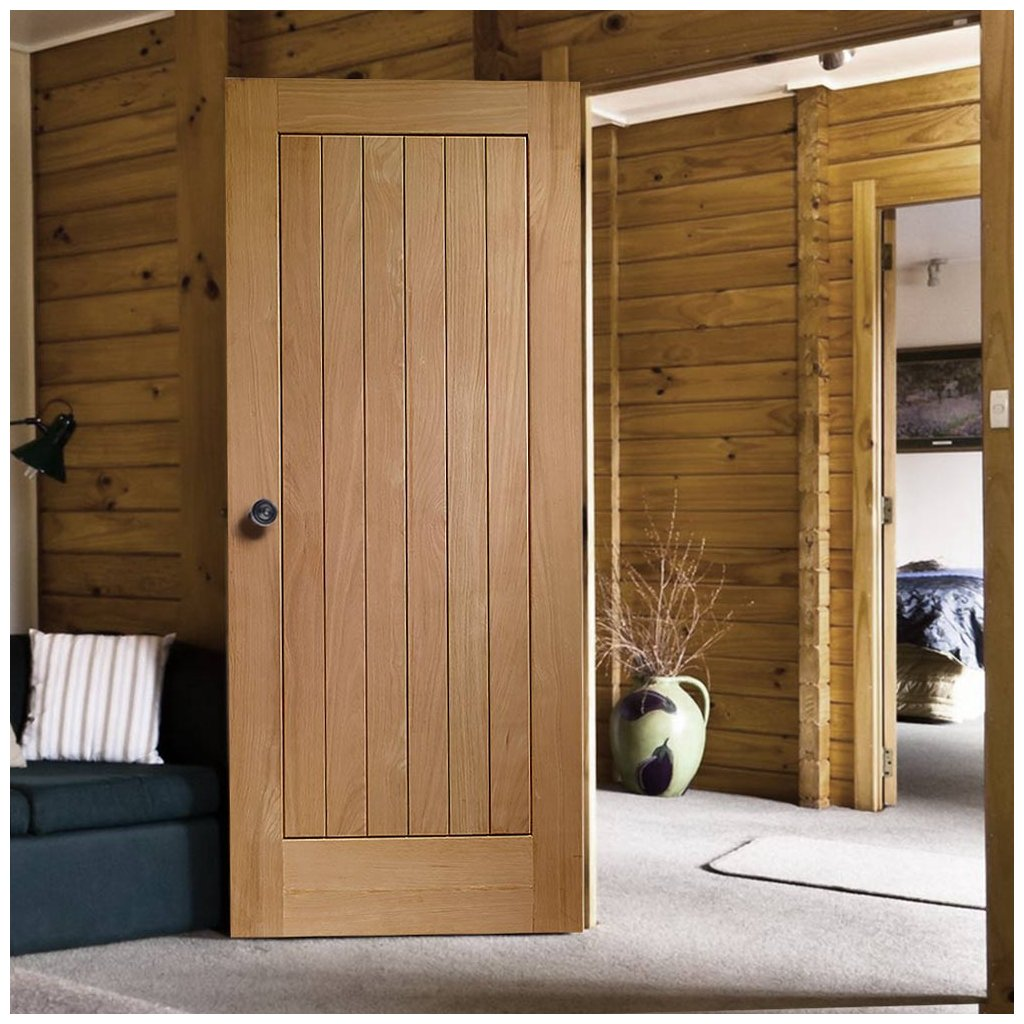 Door and Frame Kit - Suffolk Oak Door - Vertical Lining - Prefinished