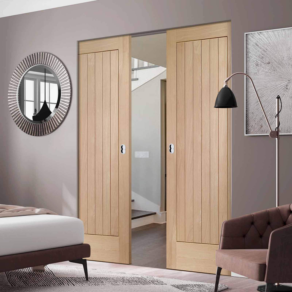 Bespoke Suffolk Oak Double Frameless Pocket Door - Vertical Lining