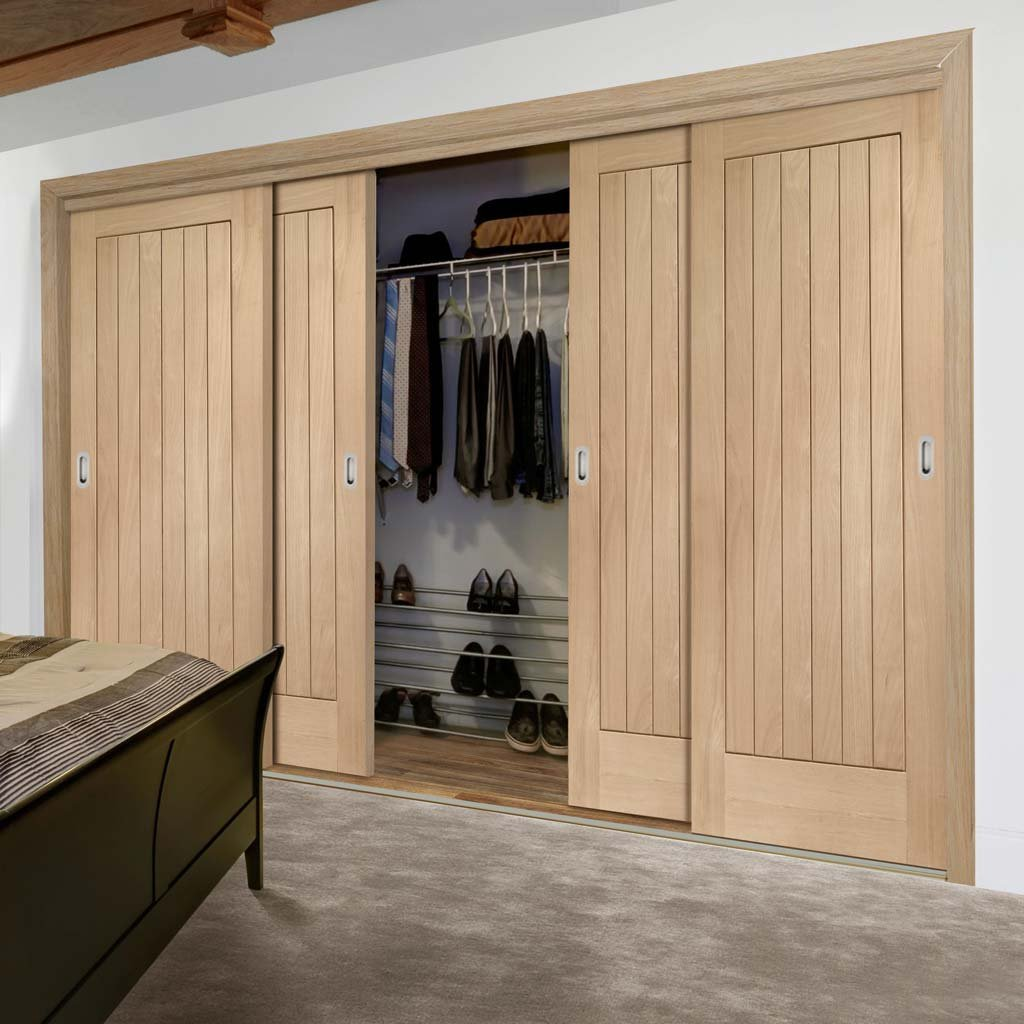 Minimalist Wardrobe Door & Frame Kit - Four Suffolk Oak Doors - Prefinished
