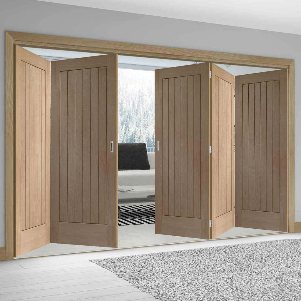 Bespoke Thrufold Suffolk Oak Folding 3+2 Door - Vertical Lining - Prefinished