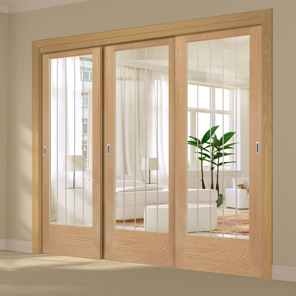 Three Sliding Doors and Frame Kit - Suffolk 1 Pane Oak Glazed Door - Clear Etched Glass