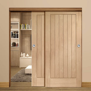 Image: Thruslide Suffolk Oak - 2 Sliding Doors and Frame Kit