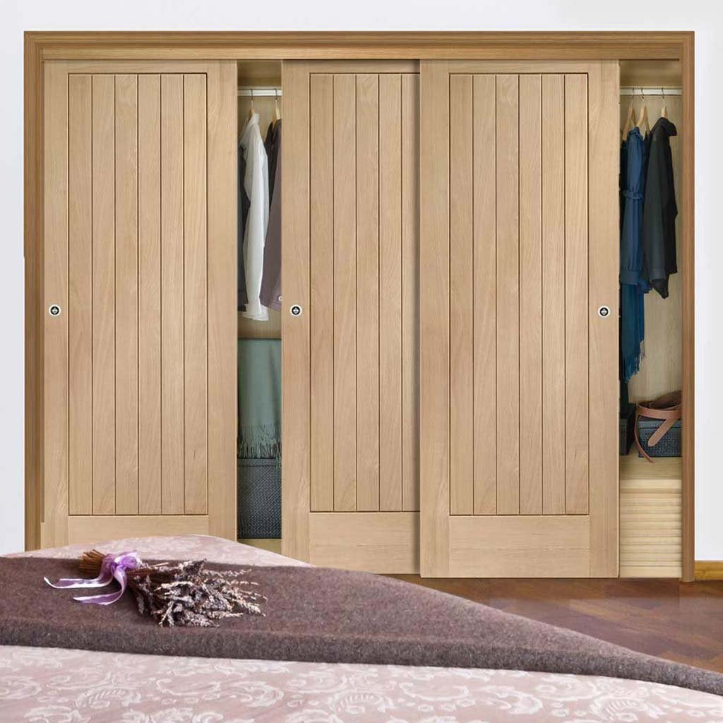 Bespoke Thruslide Suffolk Oak 3 Door Wardrobe and Frame Kit - Prefinished