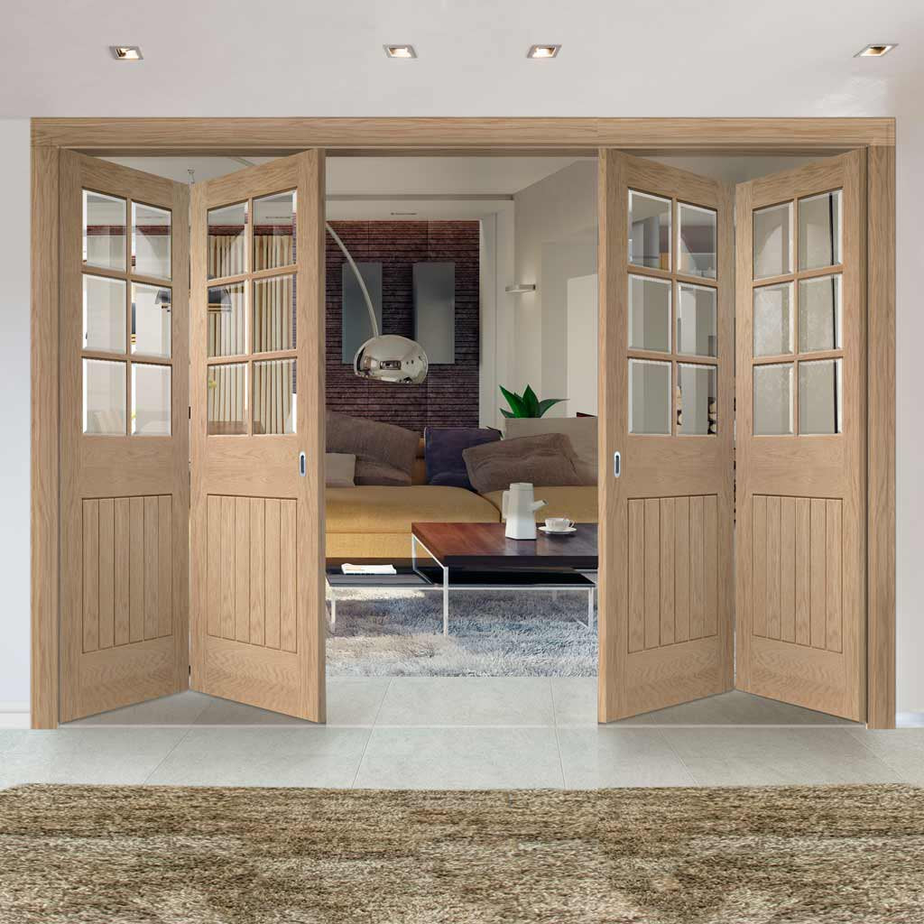 Four Folding Doors & Frame Kit - Suffolk White Oak 6 Light 2+2 - Bevelled Clear Glass - Unfinished
