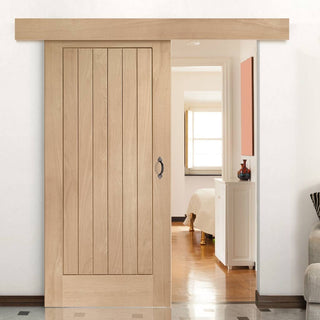 Image: Bespoke Thruslide Surface Suffolk Oak - Sliding Door and Track Kit