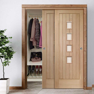 Image: Bespoke Thruslide Contemporary Suffolk Oak 4 Pane Glazed 2 Door Wardrobe and Frame Kit