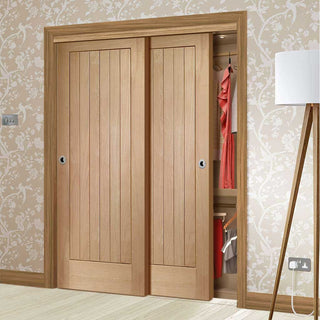 Image: Bespoke Thruslide Suffolk Oak 2 Door Wardrobe and Frame Kit - Prefinished