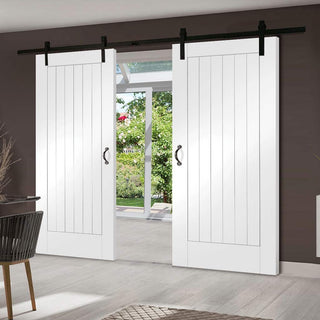 Image: Thruslide Traditional Suffolk Flush Sliding Double Door - White Primed
