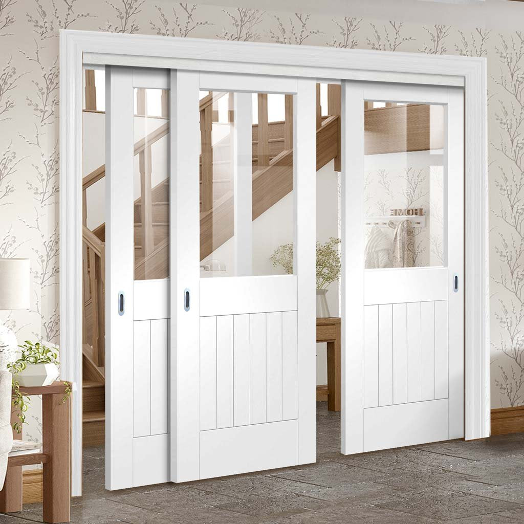 Three Sliding Doors and Frame Kit - Suffolk Door - Clear Glass - White Primed
