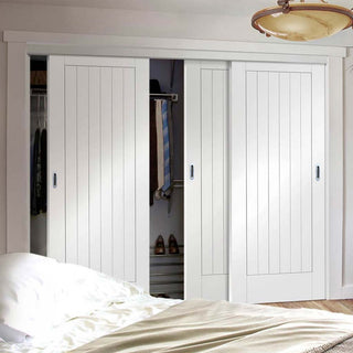 Image: Thruslide Suffolk Flush 3 Door Wardrobe and Frame Kit - White Primed