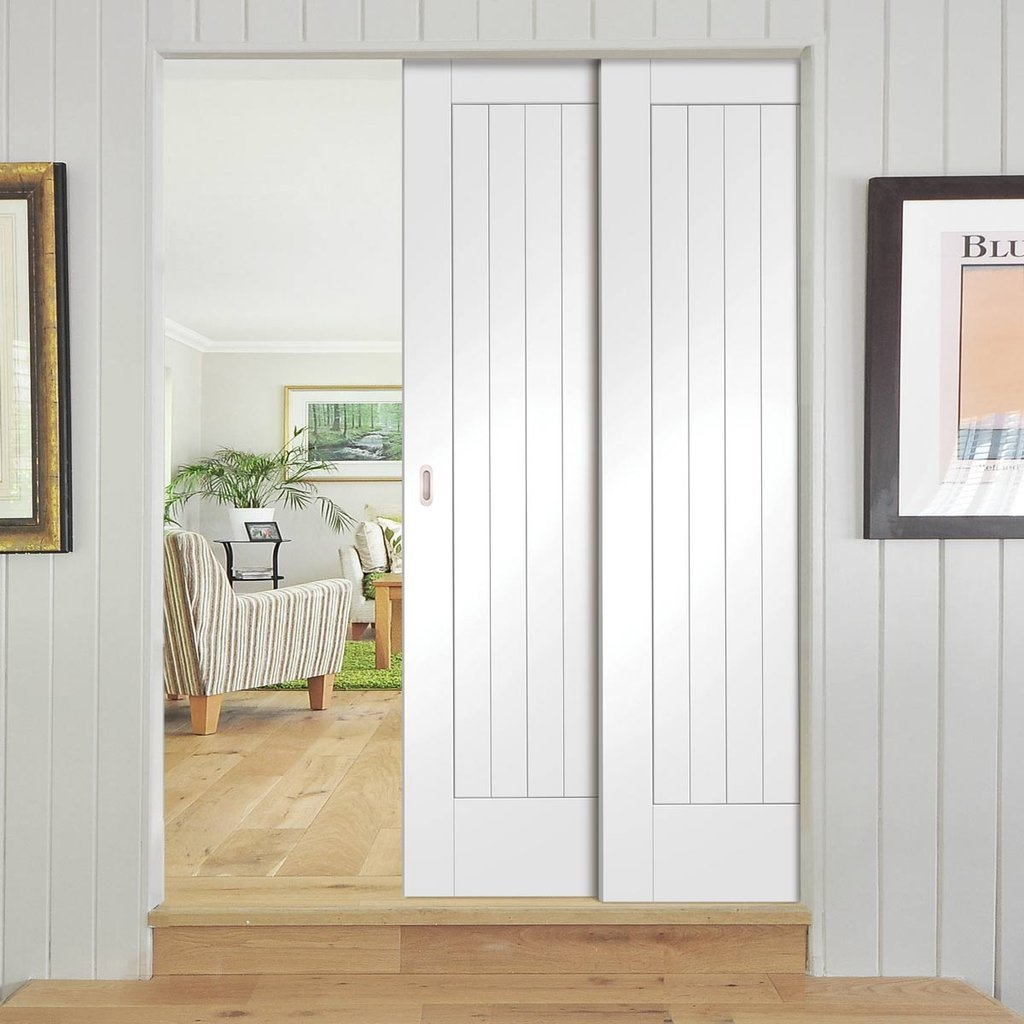 Suffolk Staffetta Twin Telescopic Pocket Doors - Primed