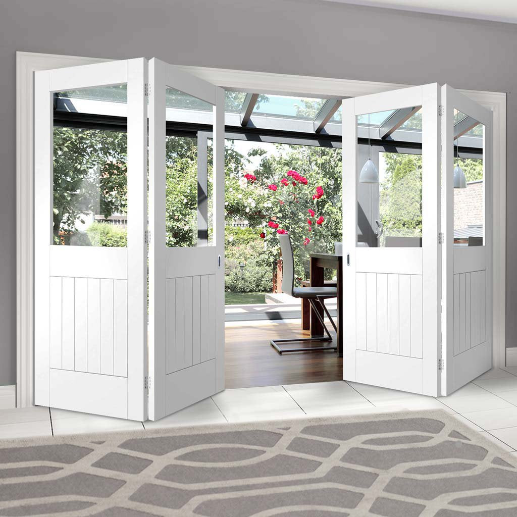 Bespoke Thrufold Suffolk White Primed Glazed Folding 2+2 Door