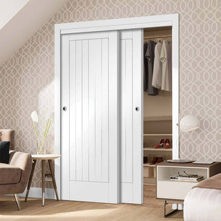 Image: Thruslide Suffolk Flush 2 Door Wardrobe and Frame Kit - White Primed